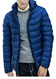 P&E Men's Quilted Zipper Padded Hoodid Down Casual Jacket Parka Coat Jewelry Blue L