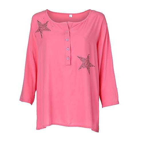 XOWRTE Women's Plus Size Blouse Button Five-Pointed Star Tops Hot Drill Shirt