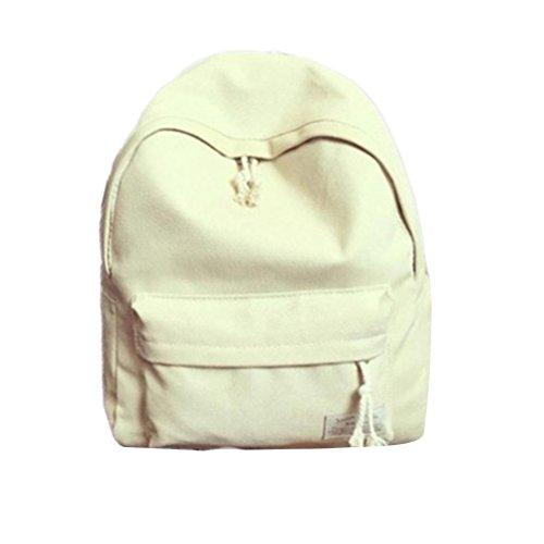 Clode® Escuela mochila morral del ordenador portátil mochila Daypacks Casual Simple libro Bolsa viaje deportes Pack bolsas Vintage para niñas niños, peso ligero Blanco