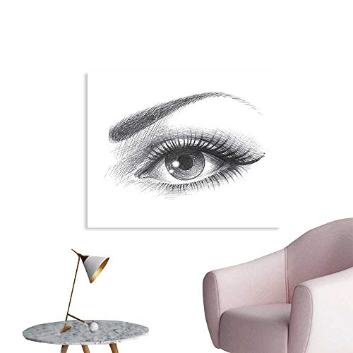 J Chief Sky Eye Wall Decoration Pencil Drawing Artwork of a Staring Female Eye with Long Lashes and a Curvy Eyebrow Wallpaper Mural W36 xL24
