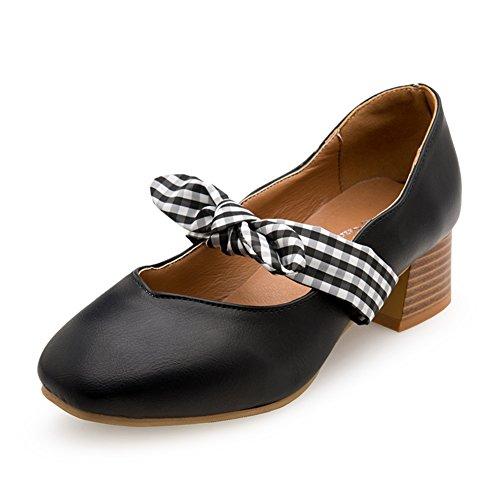 Koreanisch Version Flach Mund Grobe Ferse Schuhe,Square Head Retro Heel Schuhe,Hundert Bögen Mary Janes Schuhe A