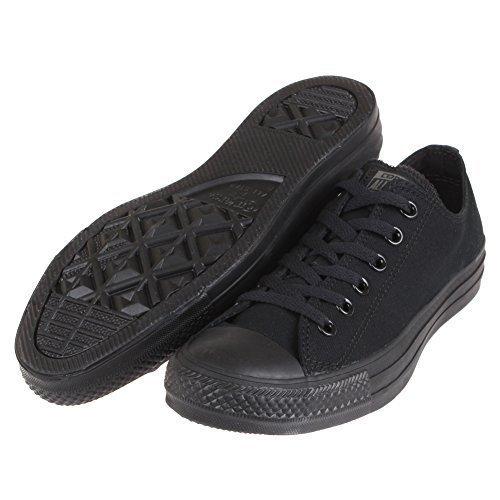 Converse Unisex Chuck Taylor All Star Low Top Black Monochrome Sneakers - 5 Men = 7 Women