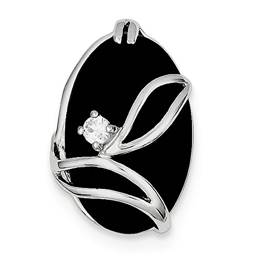 (925 Sterling Silver Rhodium Plated Onyx and Cubic Zirconia Slide Pendant)
