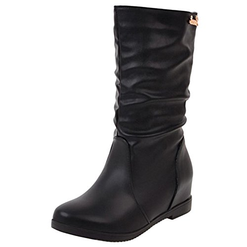 Coolcept Women Comfort Low Flats Slouch Boots Pull On Mid Calf Black-H 3e3zPrDRd