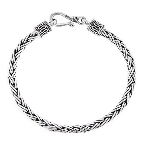 Length 6 4mm Thick Wheat Style Handmade 925 Sterling Silver Bracelet Or - Sterling Cable Silver Link 4mm