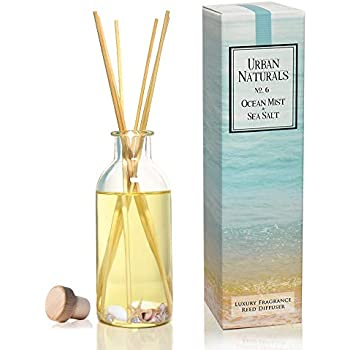 Urban Naturals Reed Diffuser Set | Made with Essential Oils & Real Botanicals | Decorative Air Freshener for Large Rooms | Beautiful Home Décor Makes a Great Gift (Ocean Mist & Sea Salt)