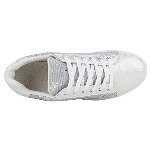 Damen Flandell Sneaker Hellblau Metallic Stiefelparadies Plateau 1xwq1d