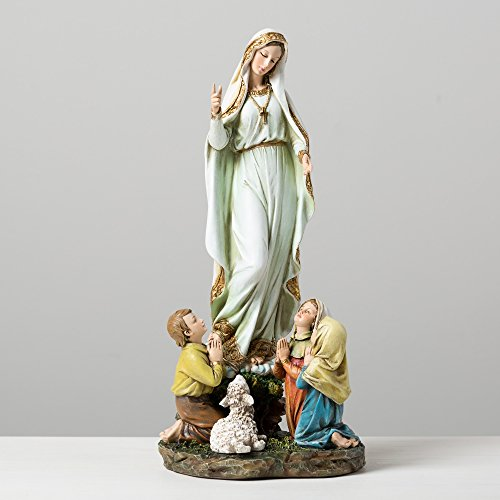 Our Lady Angels - Our Lady of Fatima Children 12 Inch Resin Stone Indoor Outdoor Garden Statue