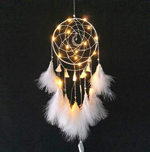 Meticci LED Dream Catcher, LED Dream Catchers, Dream Catcher, Dream Catchers Handmade Traditional Feather Hanging Home Wall Decoration Décor Ornament Craft Native American Style (White)