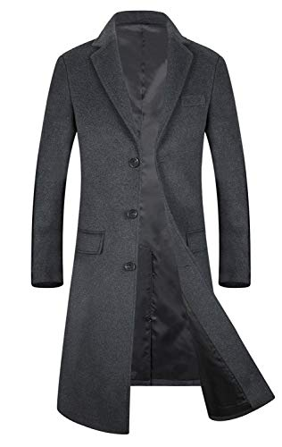 Men's Trench Coat Wool Blend French Long Jacket Business Top Coat Single Breasted 1801 Grey S