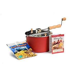 Red Whirley Pop Stovetop Popcorn Popper with Popping Kit - Perfect Popcorn in 3 Minutes, Makes a Perfect Gift