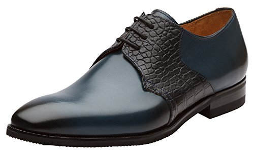 Shoes Men Elegant (Dapper Shoes Co. Handcrafted Genuine Leather Men's Classic Wingtip Brogue Oxford Leather Lined Perforated Dress Oxfords Shoes US 7-7.5 Navy)