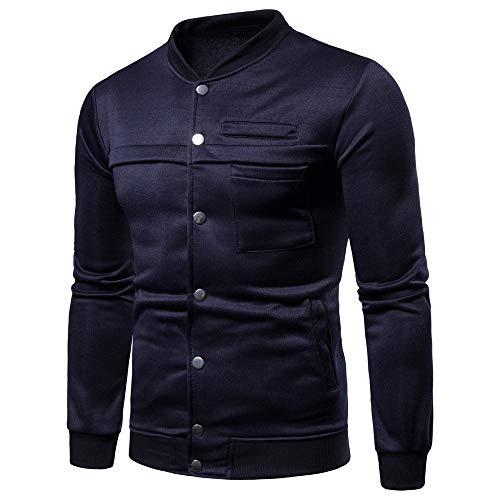 ANJUNIE Mens Pure Color Jacket Pullover Long Sleeve Sweatshirt Tops Blouse Casual Cardigan (Navy,M) ()