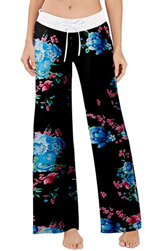 Women's Casual Pajamas Pants Black Floral Blue Flower Summer Wide Leg Palazzo Lounge Pants High Waisted Drawstring Comfy Sleepwear Trousers Pyjamas