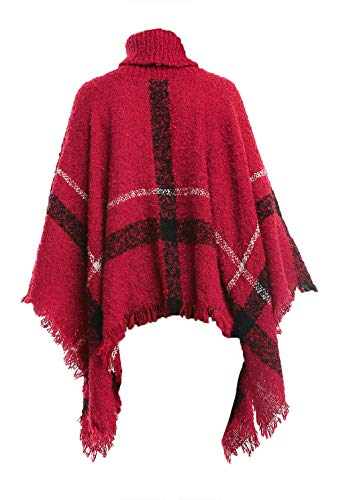 - Women's Batwing Tassels Poncho Cape Plaid High Collar Sweater Poncho, Red