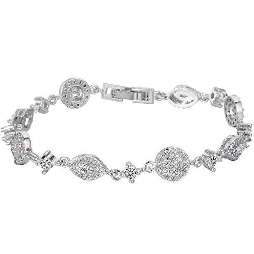 EVER FAITH Silver-Tone Full Cubic Zirconia December Birthstone Wedding Woman Bracelet Hand Chain Clear by EVER FAITH