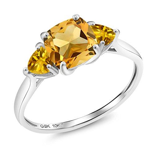 (1.80 Ct Cushion Yellow Citrine 10K White Gold 3 Stone Meghan Ring (Size 7))