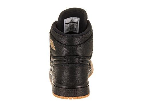 Jordan Nike Womens 1 Scarpa Da Basket Premium Retrò Nera / Oro Metallizzato