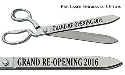 """Pre-Laser Engraved """"GRAND RE-OPENING 2016"""" 15"""" Chrome Plated Ceremonial Ribbon Cutting Scissors"""