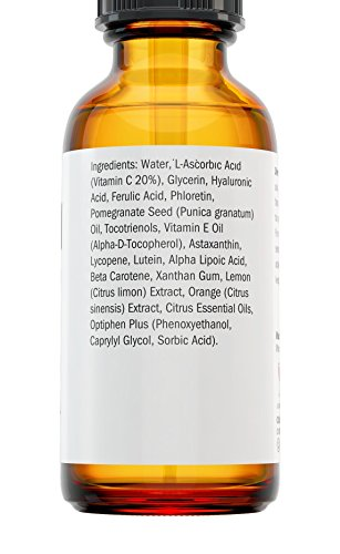 Natural Vitamin C Serum 20% - Professional Anti Aging Skin Care for Face with Hyaluronic Acid + Powerful Antioxidants