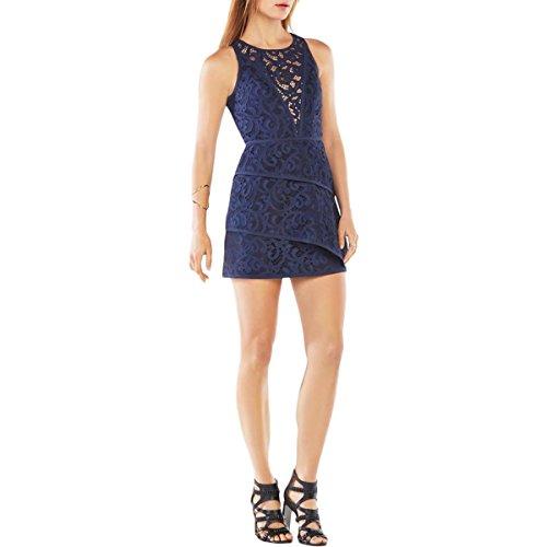 BCBG Max Azria Womens Hanah Lace Tiered Mini Dress Navy 2
