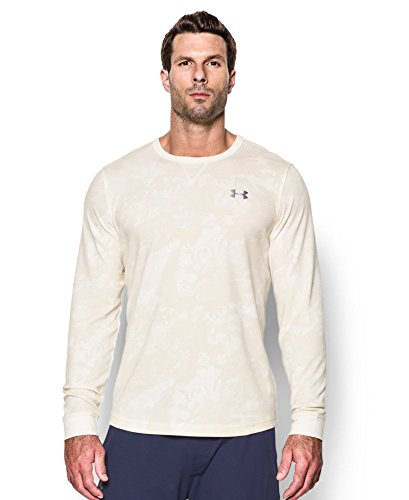 Under Armour Men's Waffle Printed Crew, Ivory/Graphite, Small