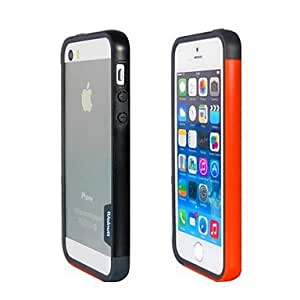 YXF Fashion Double Color TPU Frame Bumper for iPhone5S(Black+Orange)
