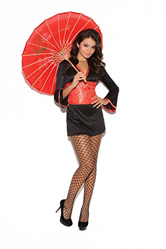 [Hot Oriental Goddess Geisha Girl Long Sleeve Dress and Sash Halloween Costume 2pc Set (M,] (Sexy Geisha Costumes)