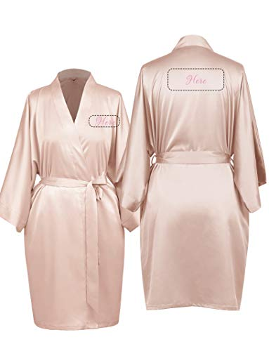 AW Personalized Embroidered Luxurious Satin Kimono Robe for Women Bride Bridesmaid Maid of Honor Mother Gift, Shell Pink, L