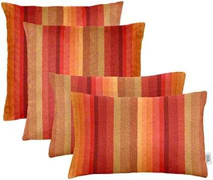 "Set of 4 Indoor / Outdoor Square Rectangle Lumbar Throw Pillows Made of Sunbrella Astoria Sunset 20"" x 12"" 17"" x 17"""