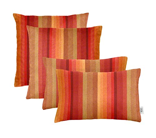 "RSH Décor Set of 4 Indoor/Outdoor Square & Rectangle Lumbar Throw Pillows Made of Sunbrella Astoria Sunset (20"" x 12"" & 17"" x 17"")"