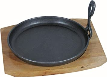 Servierpfanne oval schwarz mit Holz-Untersetzer 10 Stück