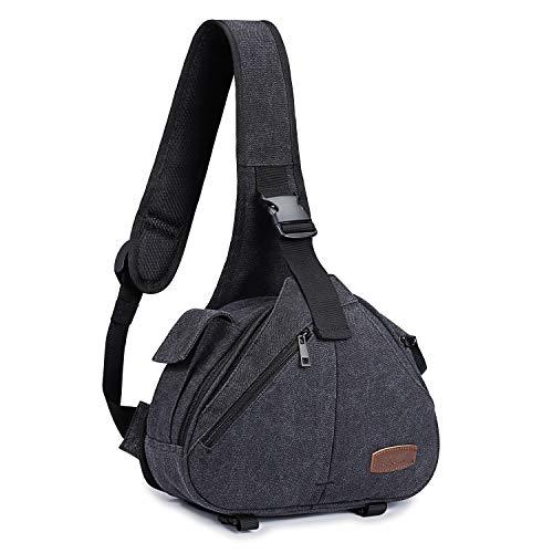 S-ZONE Canvas Camera Sling Bag DSLR Shoulder Crossbody Backp