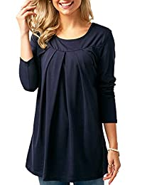 onlypuff Womens Blouses Long Sleeve Ruffle Solid Color Casual Tunic Tops
