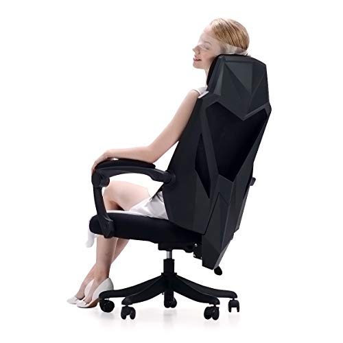 Hbada Office Desk Chair with Reclined Integrated Backrest, High Back Mesh Home Height Adjustable Chair, Black