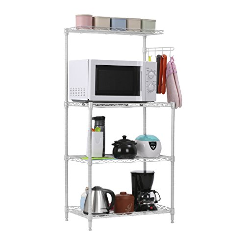 LANGRIA 3-Tier Microwave Storage Rack Shelving with Wire Mesh Shelves, Adjustable Leveling Feet, 4-Side Hooks, Top Shelf, 165lbs. Weight Capacity, 23.2'' x 15.4'' x 47.2'', Silver Finish (Small Microwave Shelf compare prices)