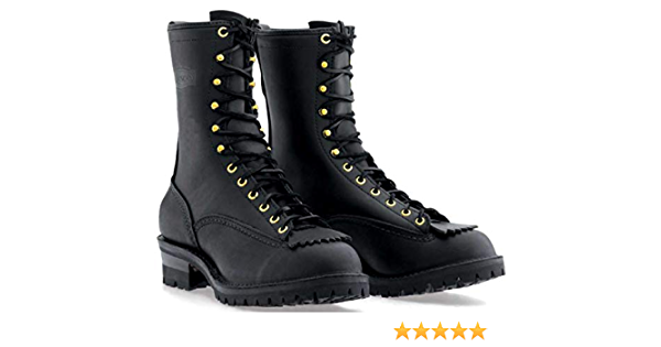 Wesco Mens Firestormer 10 Black Fire and Water Resistant Lace-to-Toe Boots BKF310100F