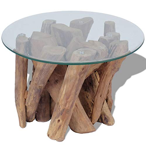 Fully Handmade Solid Teak Wood Glass Table Top Coffee End Table