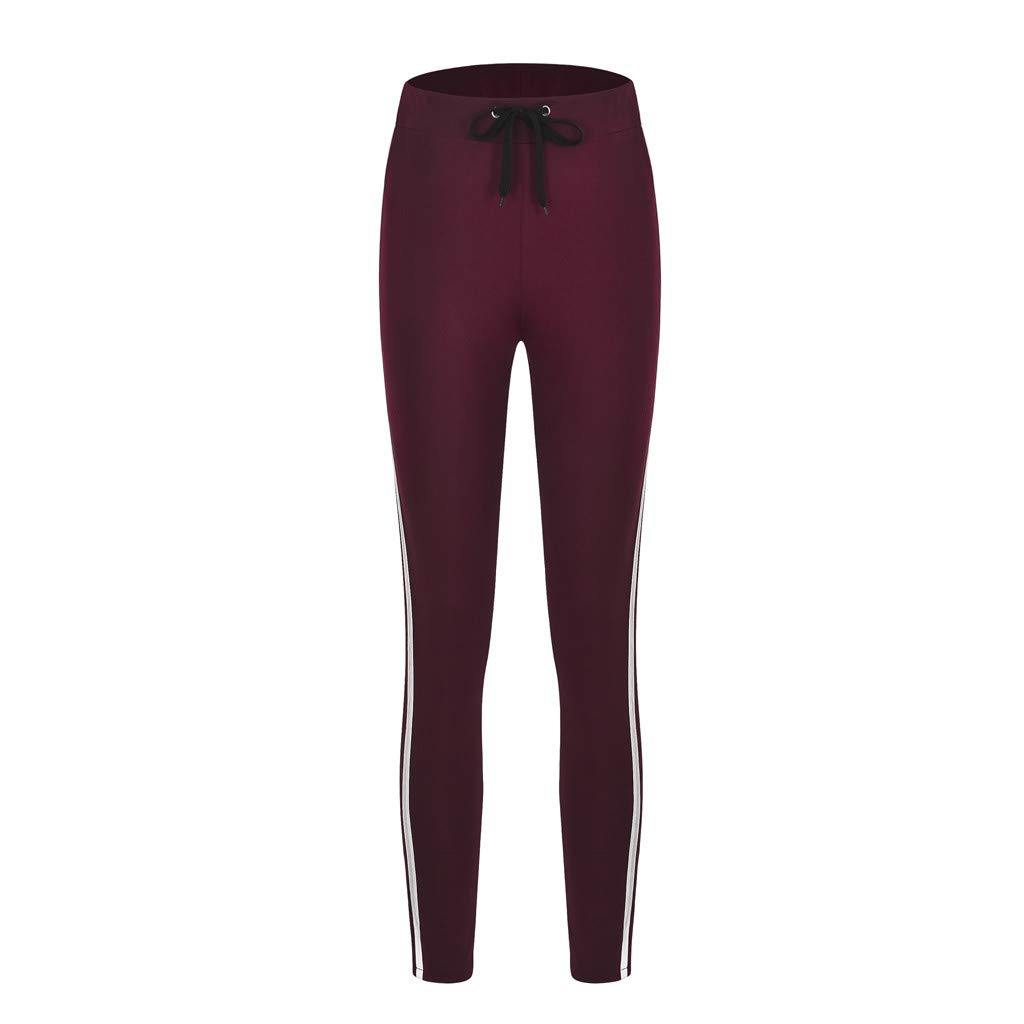 TTINAF Women Sport Tight Pants, Casual High Waist Side Striped Tie Belted Fitness Running Training Trousers (S, Wine)