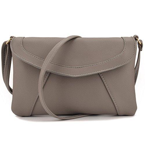 Jiaruo Small Shopper Crossbody Shoulder Bag Leather Wallet Purse (light grey 2)