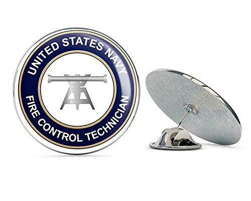 (US Navy Fire Control Technician Round FT Military Veteran USA Pride Served Gift Metal 0.75