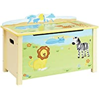 Guidecraft Wood Hand-painted Savanna Smiles Toy Box - Kids Toy Organizer, Toddlers Room Furniture