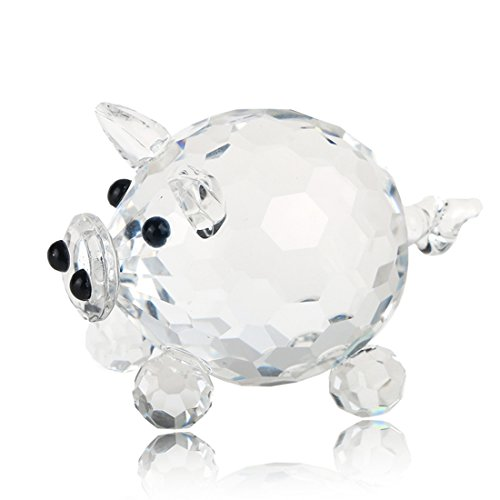 H&D Crystal Pig Figurine Collection Cut Glass Animal Statue Ornament for -