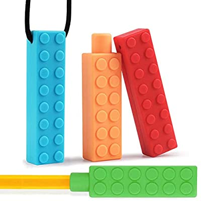 Onwon Sensory Chew Necklace and Pencil Topper for Kids - Teething Silicone Chewing Necklace - Oral Motor Chewing Biting Chewelry for Autism ADHD - BPA Free - 4 Pieces: Beauty