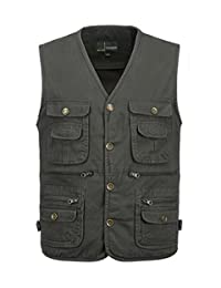 Splendid-Dream Men's multi-pocket Cotton waistcoat outdoor fishing vest