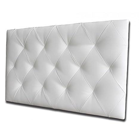 Ventadecolchones - Cabecero Modelo Diamond tapizado el Polipiel Blanco y Medidas 200 x 70 cm para Camas de 180 ó 200: Amazon.es: Hogar