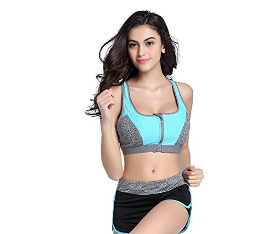 Women's Sports Bras Gym Yoga Top Zipper Front Breathable Bras Double Wear BrasM, blue) by CHRISTYZHANG (Image #2)