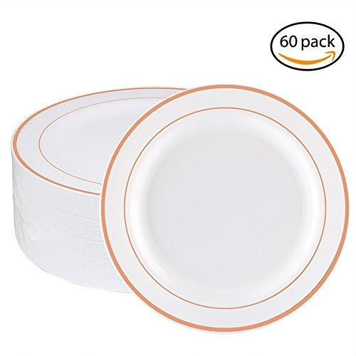 Pasta Rimmed Plate (WDF 60pcs Disposable Plastic Plates-7.5inch Salad/Dessert Plates- Rose Gold Trim Real China Design - Premium Heavy Duty Plastic Plates for Wedding/Parties (7.5