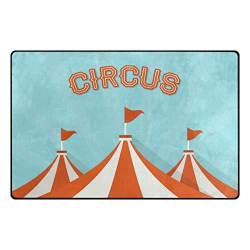 Jojogood Big Top Circus Vector Background Area Rug Carpet Non-Slip Floor Mat Doormats for Living Room Bedroom 31 x 20 -