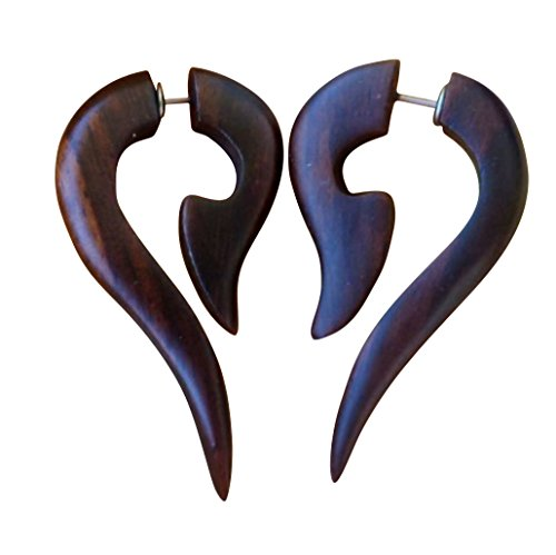 - UMBRELLALABORATORY Tribal Organic Wooden Earrings Fake Gauges Sold As Pair Bohemian Jewelry w 14